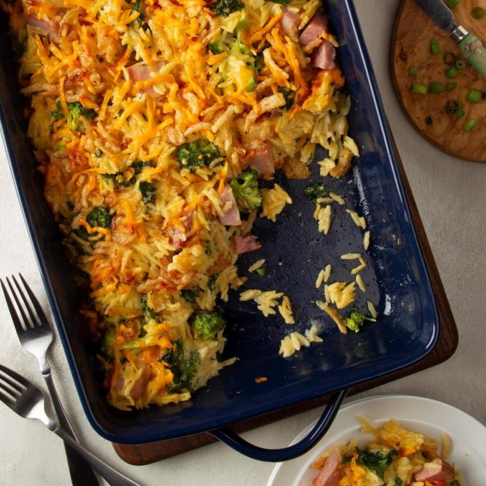 Ham, Broccoli and Orzo Casserole
