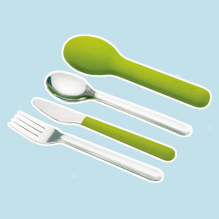 Joseph Joseph 81033 GoEat Compact Stainless-Steel Cutlery Set, Green
