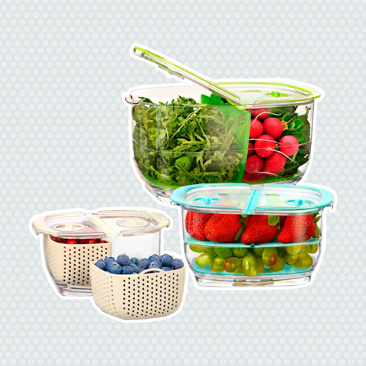 LUXEAR Fresh Produce Vegetable Fruit Storage Containers 3Piece Set, BPA-free Fridge Storage Container, Partitioned Salad Container, Fridge Organizers, Used...