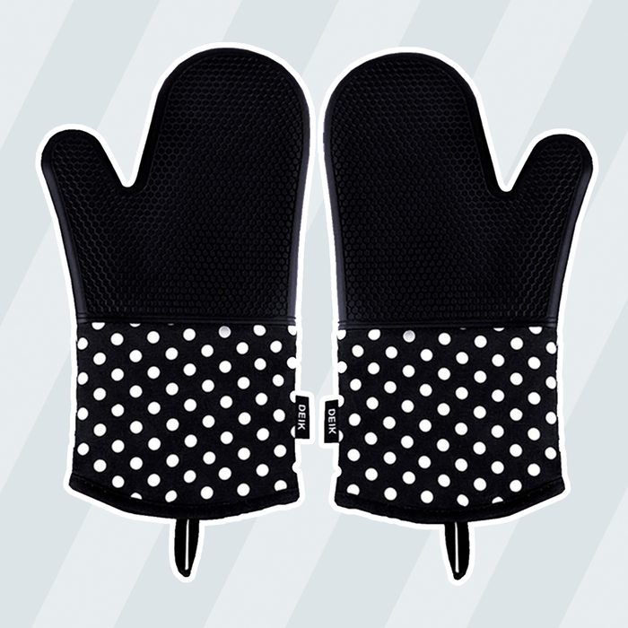 Deik Oven Mitts, Non-Slip Silicone Oven Mitts, Extra Long Kitchen Mitts, Heat Resistant to 572°F Kitchen Oven Gloves, 1 Pair, Black