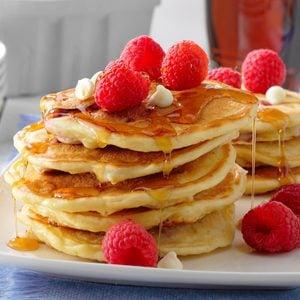 White Chocolate Raspberry Pancakes