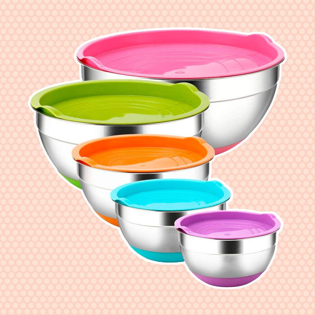 Stainless Steel Mixing Bowls with Airtight Lids by REGILLER