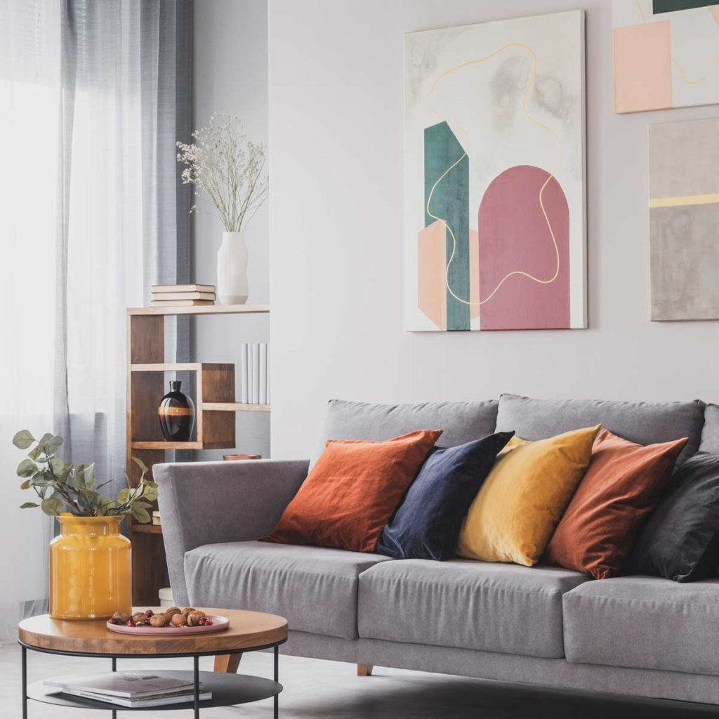 Warm toned living room with accent pillows