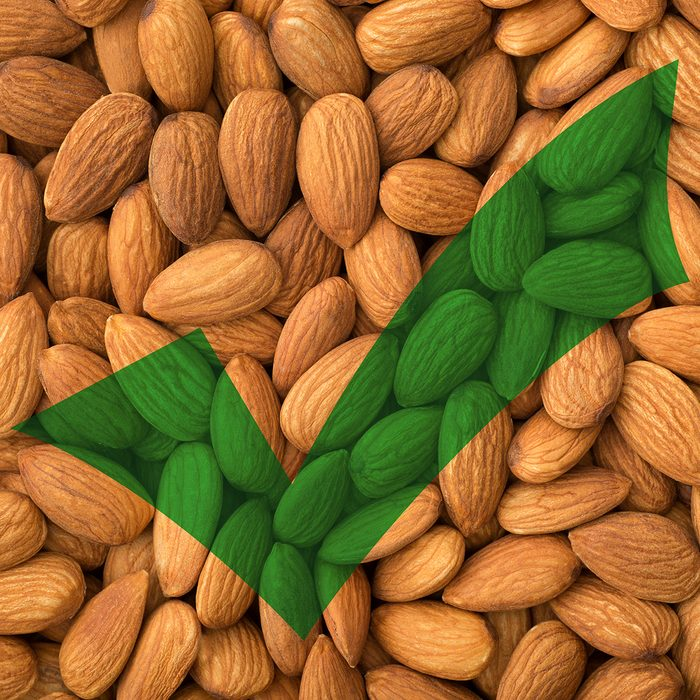 Almonds with green check mark