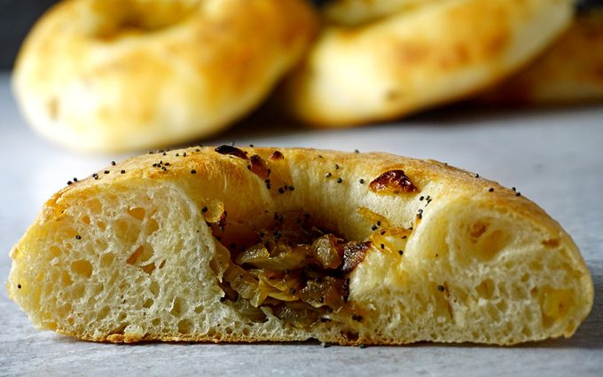 baked bialy cut in half to show texture