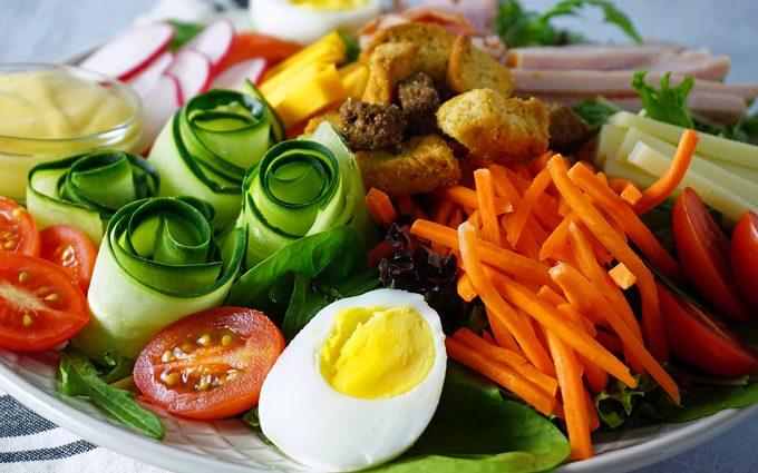 closeup photo of a chef salad