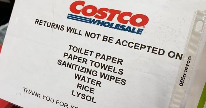 costco no returns sign