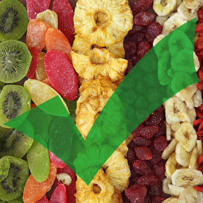 Dried fruit with a green check mark