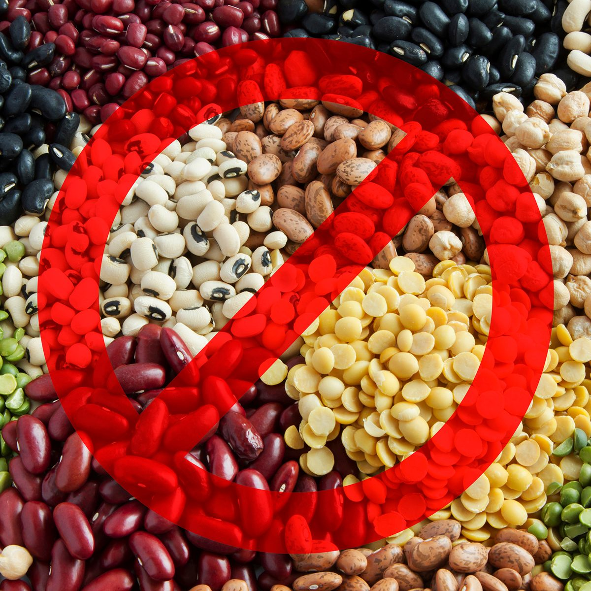 Legumes with the no symbol over them