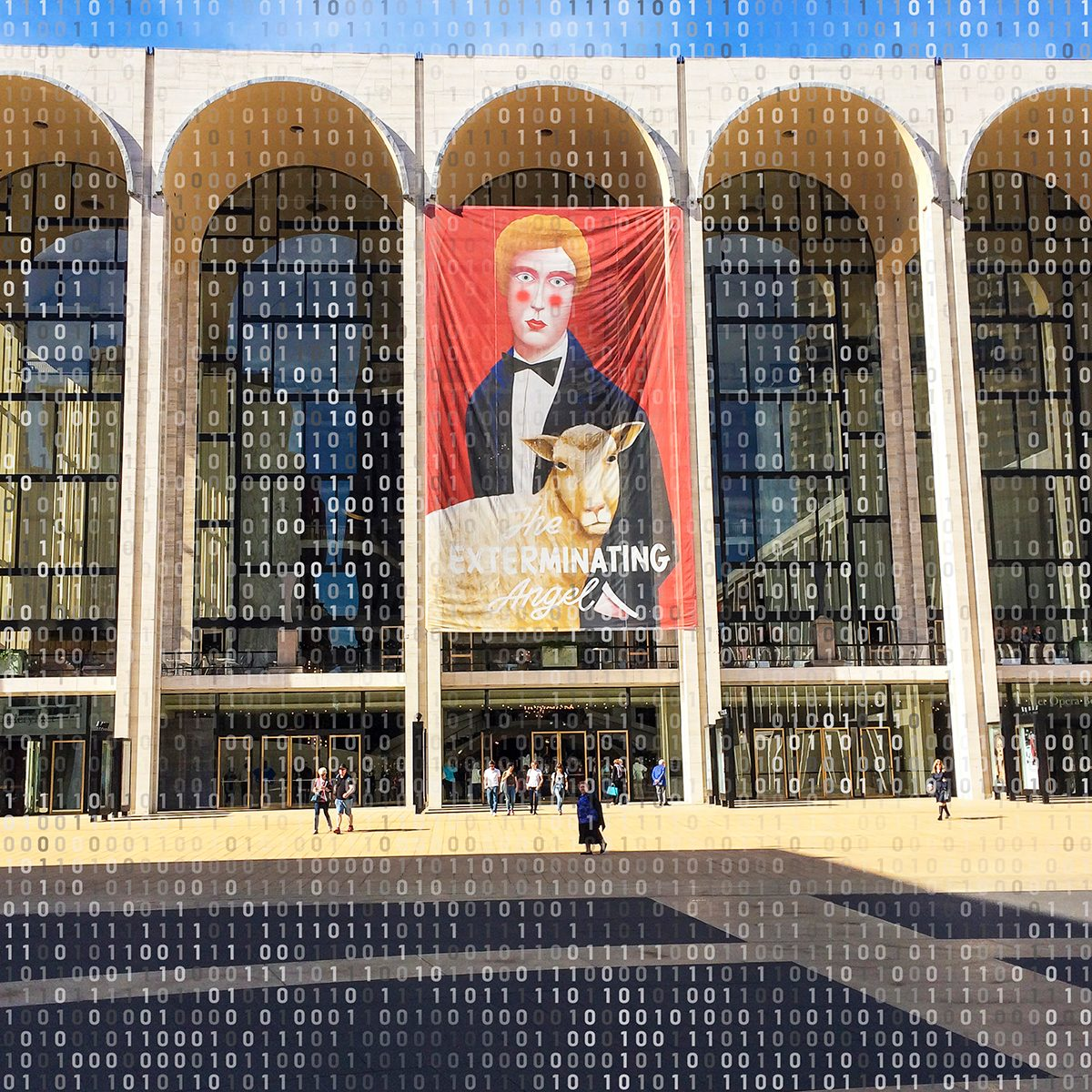Exterior view of the Metropolitan Opera House from Lincoln Center Plaza, New York, New York, October 22, 2017. A large banner advertises the premiere of 'The Exterminating Angel' (by Thomas Ades). (Photo by Linda Vartoogian/Getty Images)