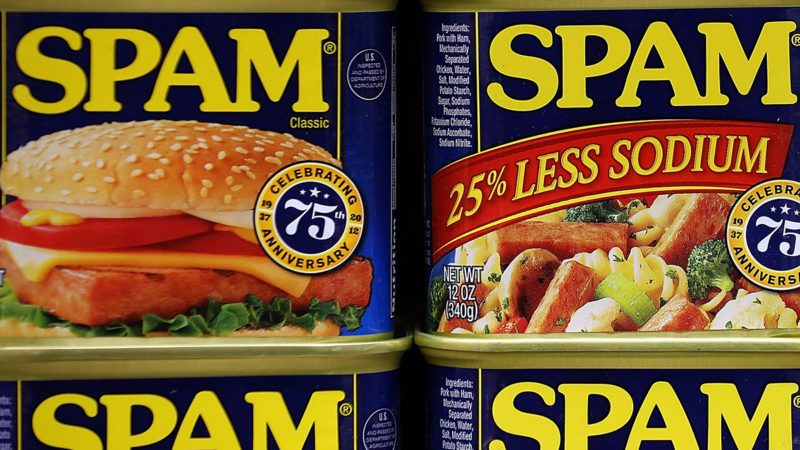 SAN FRANCISCO, CA - JANUARY 03: Cans of Spam are displayed on a shelf at Cal Mart grocery store on January 3, 2013 in San Francisco, California. Hormel, the maker of Spam, announced that it will purchase the Skippy peanut butter brand from Unilever for $700 million in cash. (Photo by Justin Sullivan/Getty Images)