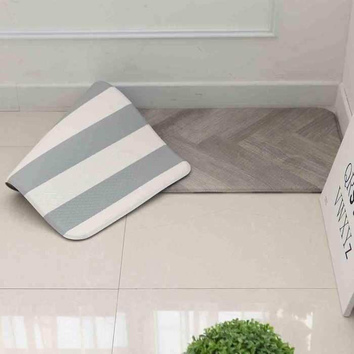 """Anti Fatigue Cushion Stylish Comfort Floor Foam Kitchen Mat, Office Mat, Waterproof, Easy to clean, Soft and Thick, Non Toxic, Reversible (Grey and Stripe, 17"""" x 48"""")"""