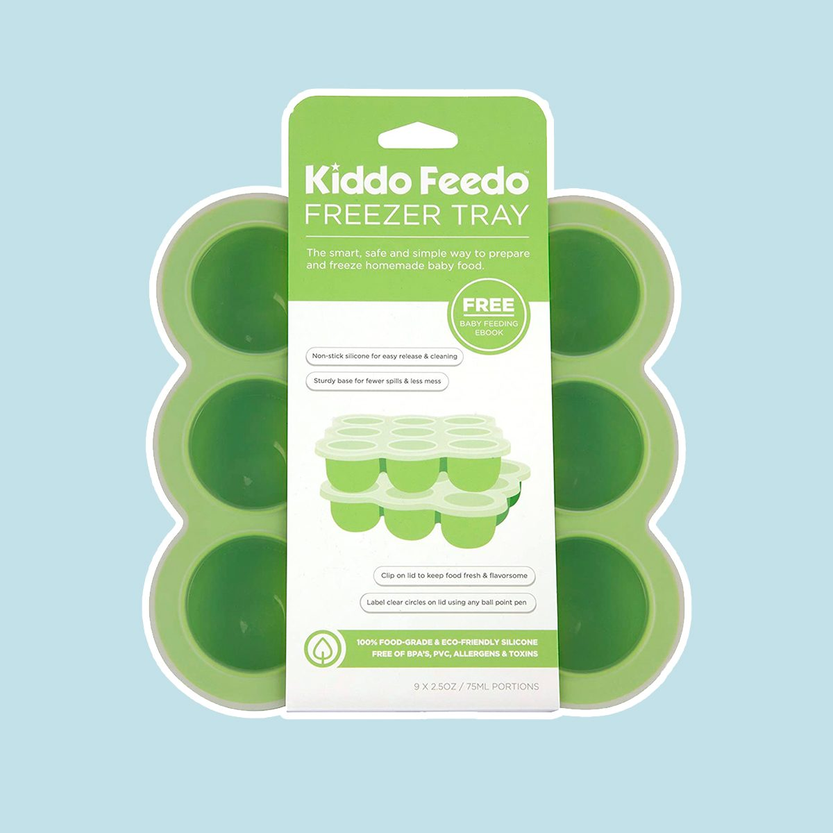 KIDDO FEEDO Baby Food Storage Container and Freezer Tray with Silicone Clip-On Lid