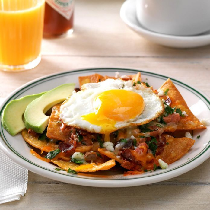 Bacon Chilaquiles with Eggs