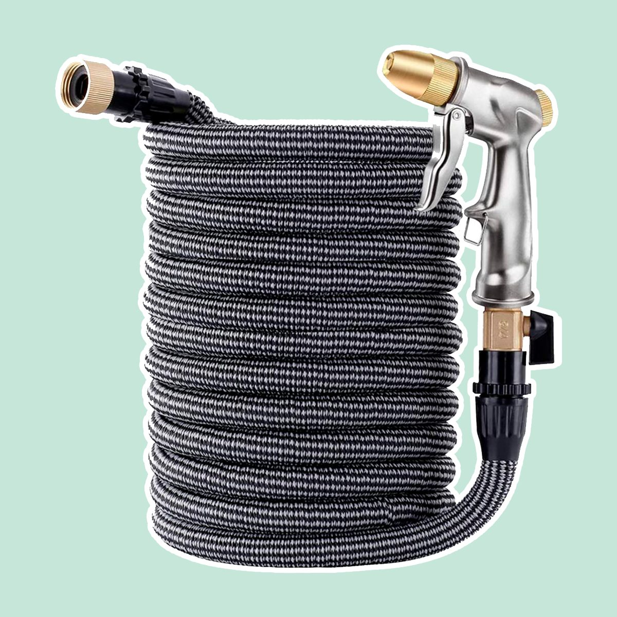 "ESOW Garden Collapsible Hose(50ft)+Heavy Duty Metal Garden Hose Nozzle,Leakproof Lightweight Expandable Garden Water Hose with 3/4"" Solid Brass Fittings,High Pressure Pistol Grip Sprayer for Watering"