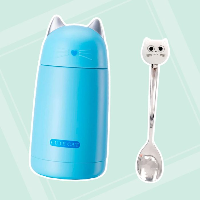 11.5oz Cute Cat Thermos Stainless Steel Mini Cartoon Water Bottle Travel Coffee Mug with Brush and Spoon Set Good for Cat Lovers Gift (Black) (Blue)