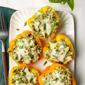 Easy Chicken Pesto Stuffed Peppers