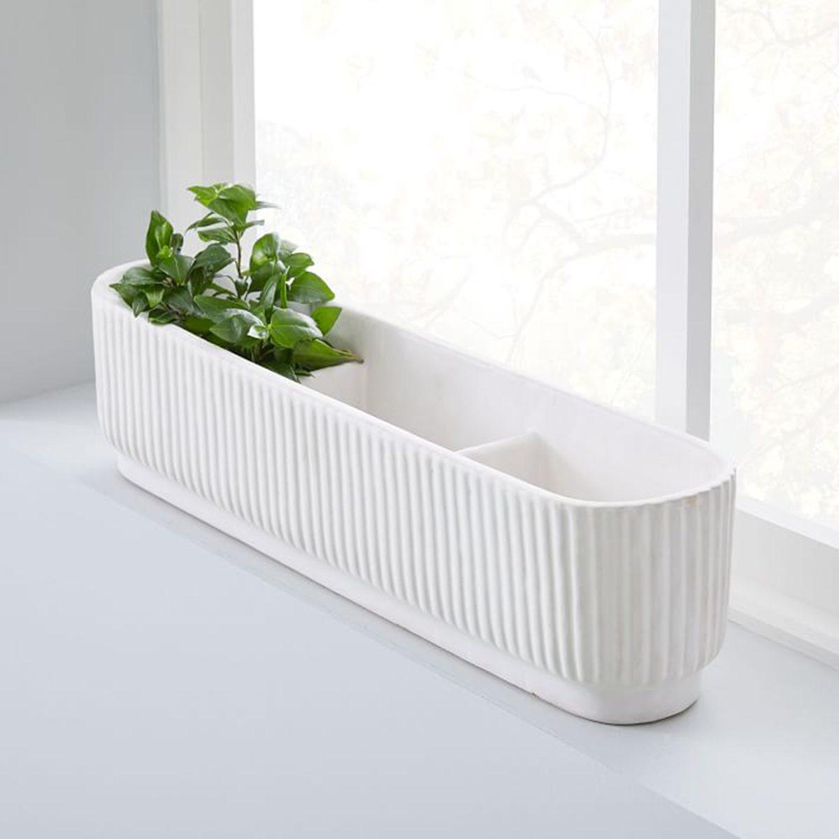 Fluted Windowsill Planter - White