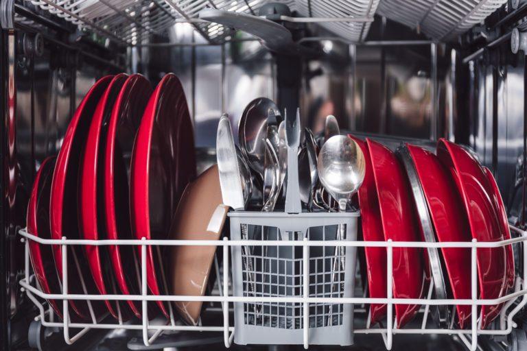 An open dishwasher