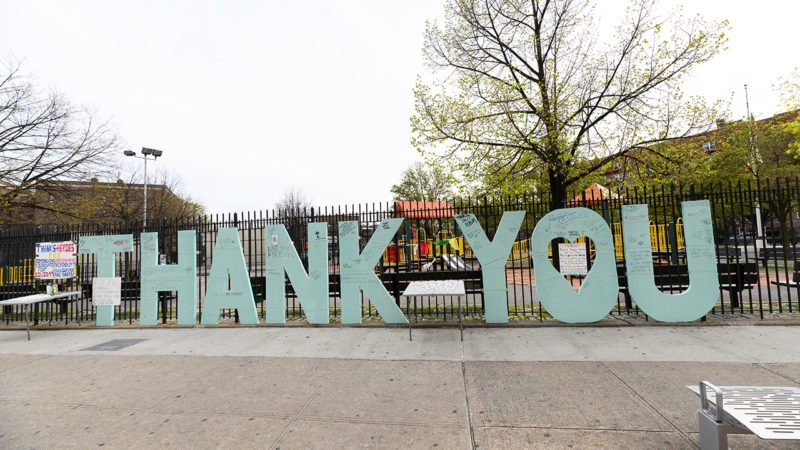 NEW YORK, NEW YORK - APRIL 20: A thank you sign is displayed outside Elmhurst Hospital Center during the coronavirus pandemic on April 20, 2020 in New York City. COVID-19 has spread to most countries around the world, claiming over 170,000 lives with over 2.4 million infections reported. (Photo by Noam Galai/Getty Images)