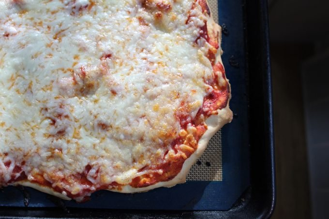 Finished pizza close-up