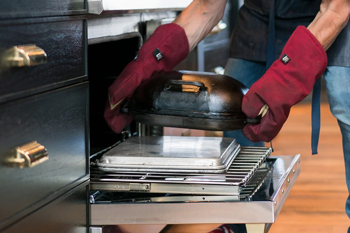 Challenger Bread Pan, Jim Loading Pan Into Oven