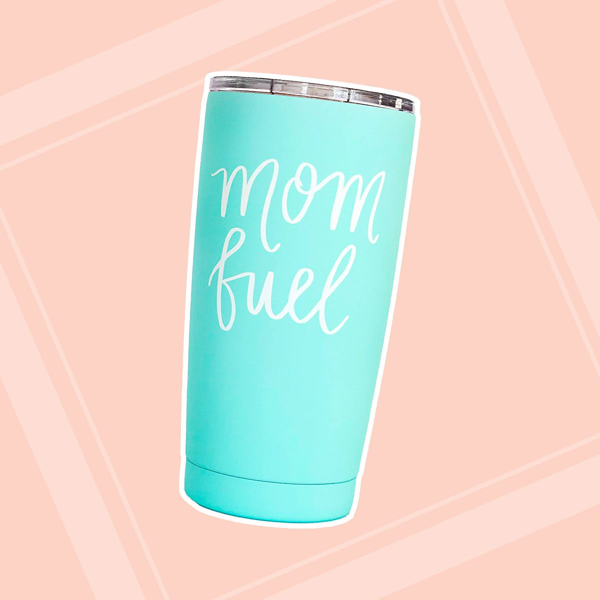 Mom Fuel Travel Mug Mint 17oz Stainless Steel with Lid New Mama Mug Mommy Boss Lady Boss Commuter Cup Metal Travel Mug Mama Fuel Bear Pretty Tumblers For Ladies Mom Momma Gift For Mother's Day
