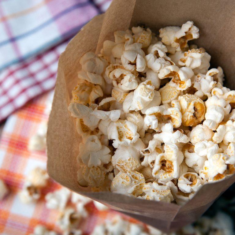 A fresh batch of homemade paper bag popcorn.
