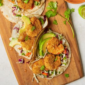 Popcorn Shrimp Tacos with Cabbage Slaw