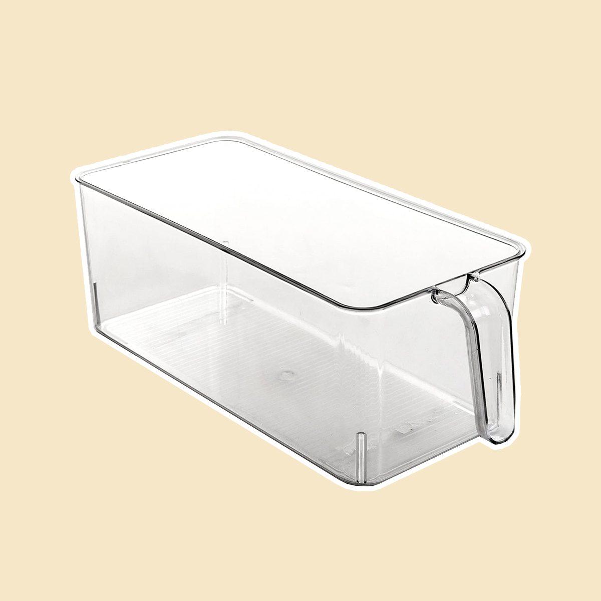 BINO Refrigerator, Freezer, Kitchen Pantry Cabinet Organizer Plastic Bin with Handle, Clear Plastic Storage Bins Refrigerator Organizer Bins Fridge...