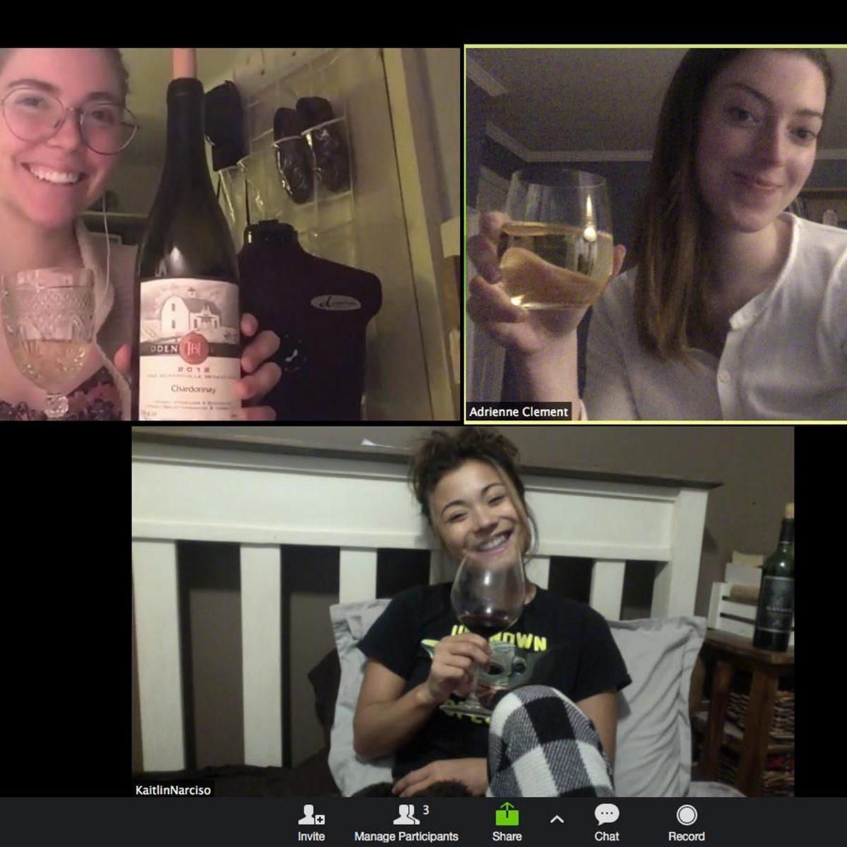 Three girls virtually sharing wine