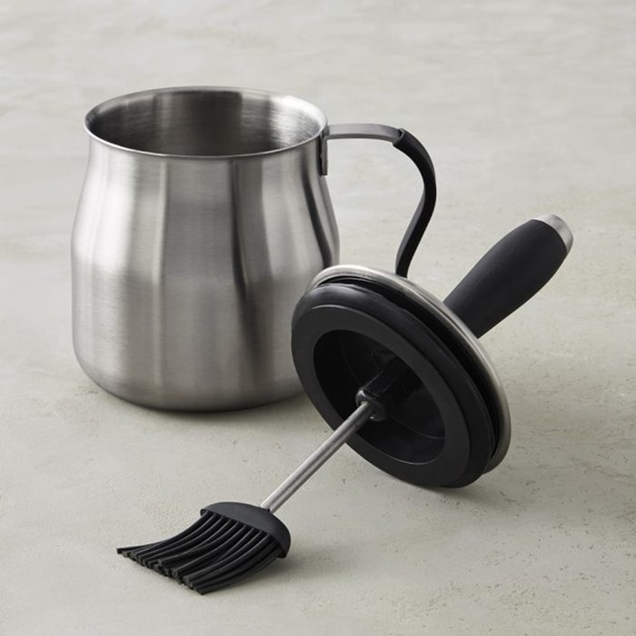 Stainless-Steel Basting Pot with Silicone Brush and Handle Grilling Accessory
