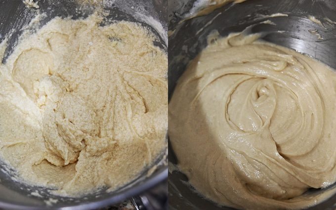 Side-by-side of curdled and smooth cake batter