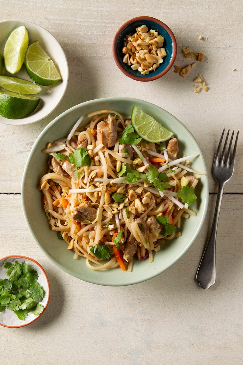 Easy pad thai recipe on counter.