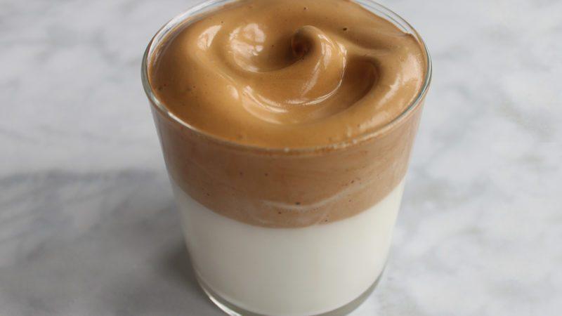 glass of foamed coffee
