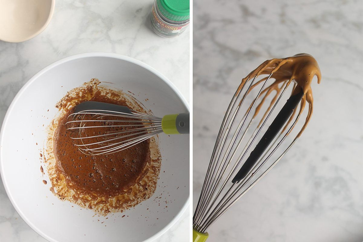 two photos of whisking instant coffee