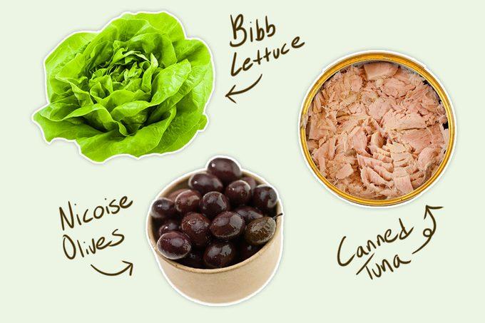 canned tuna, bibb lettuce, nicoise olives- nicoise salad