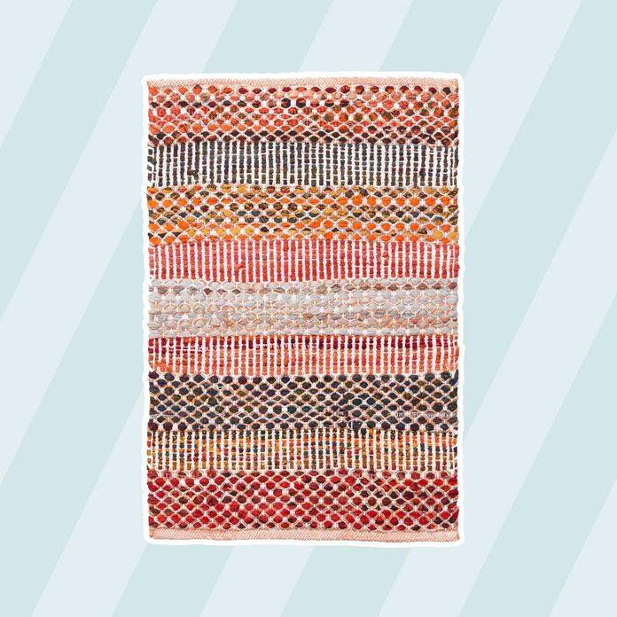 Orange Wide Stripe Cotton Chindi Area Rug