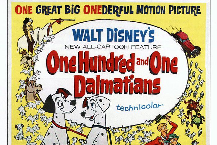 One Hundred And One Dalmatians, poster, (aka 101 DALMATIANS), from upper left: Cruella De Vil, The Colonel, Captain, Pongo, Perdita, Roger, Anita, 1961. (Photo by LMPC via Getty Images)