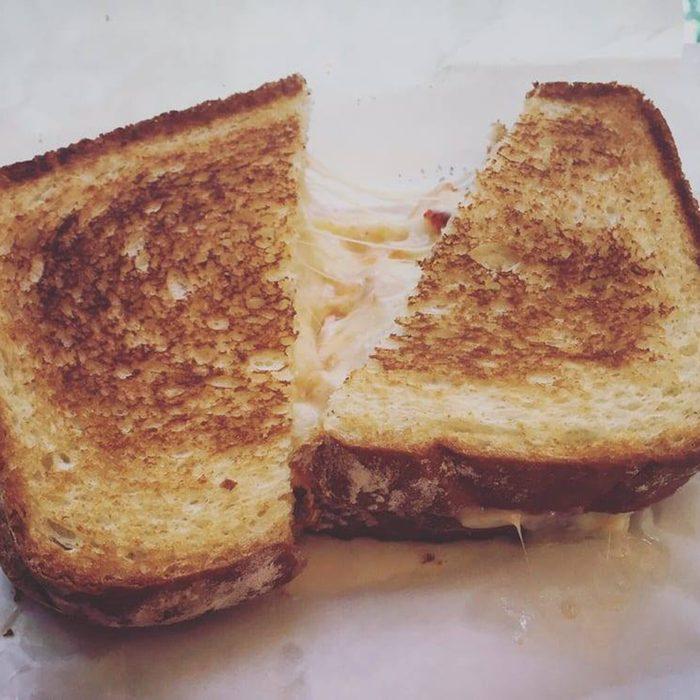 Gooey grilled cheese sandwich