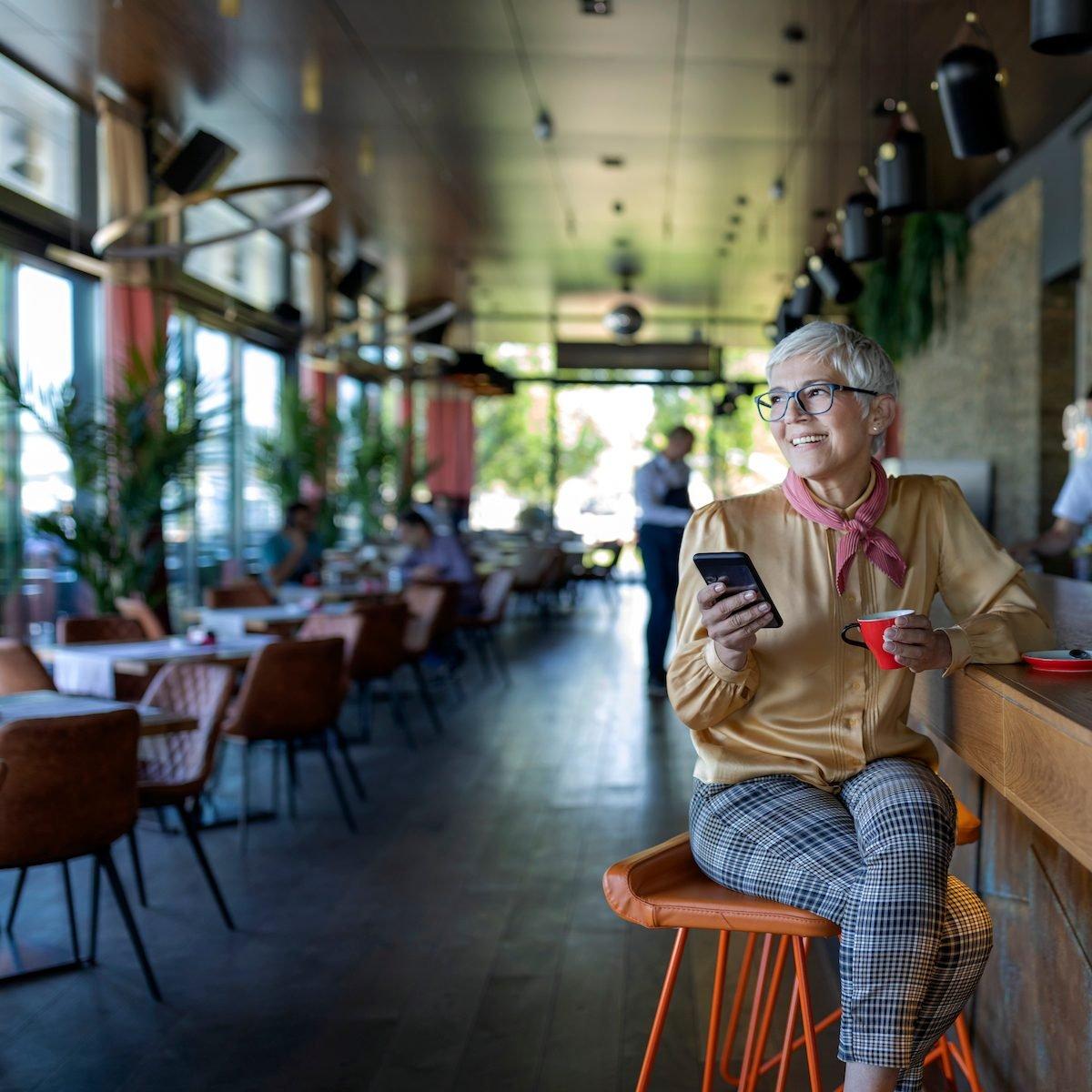 Woman alone in restaurant