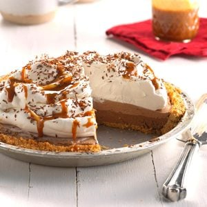 Dark Chocolate-Caramel Macchiato Pie