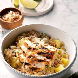 Pineapple Chicken Cauliflower Rice Bowls