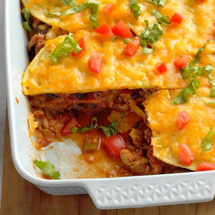 Turkey and Black Bean Enchilada Casserole