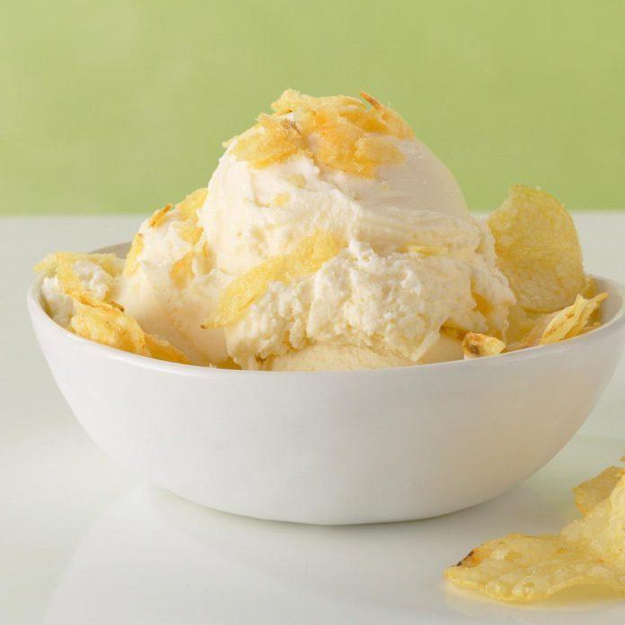 Vanilla Ice Cream with Crushed Potato Chips