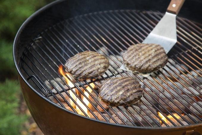 grilling hamburger