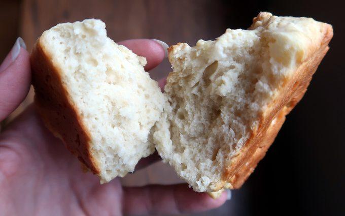 horizontal image biscuit cut in half