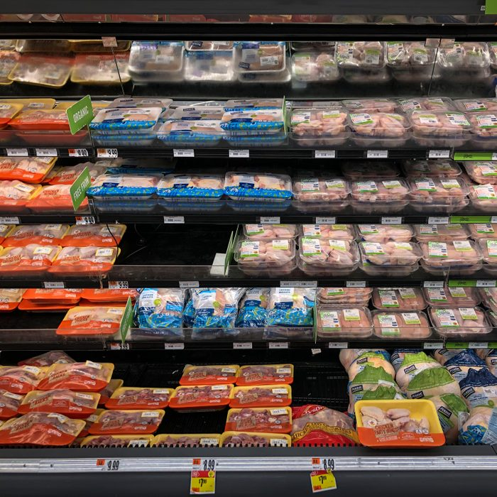 WASHINGTON, DC - APRIL 28: A view of the chicken and meat section at a grocery store, April 28, 2020 Washington, DC. Meat industry experts say that beef, chicken and pork could become scarce in the United States because many meat processing plants have been temporarily closed down due to the coronavirus pandemic. Tyson Foods took out a full page advertisement over the weekend in several major American newspapers, warning that the food supply chain is on the cusp of breaking. (Photo by Drew Angerer/Getty Images)