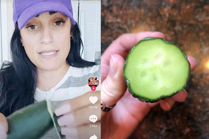 Milking a cucumber on TikTok to make them less bitter