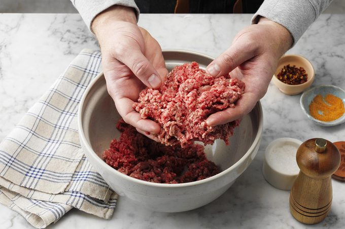 mixing meat